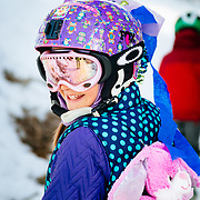 Jade Goodrich dresses up in costume on her last day of winter sports school at Jackson Hole Mountain Resort.