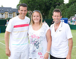 MANCHESTER, ENGLAND: Richard Krajicek (NED) and Jeremy Bates with Kris George on Day 4 of the Manchester Masters Tennis Tournament at the Northern Tennis Club. (Pic by David Tickle/Propaganda)
