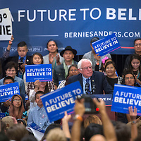 Senator and Presidential Candidate Bernie Sanders hosts a town hall at Twin Arrows Casino in Flagstaff Thursday. Navajo Nation President Russell Begay attended the event and spoke on behalf of Sanders