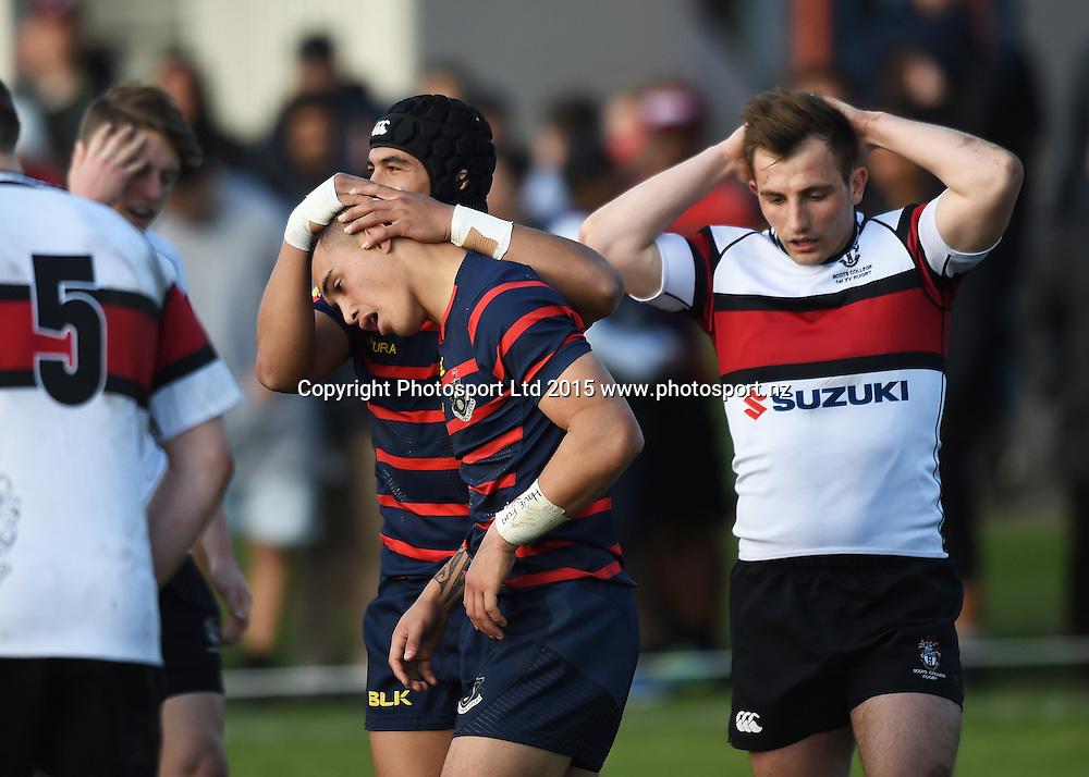 Rotorua fulback and captain Isaac Te Aute celebrates his try during the National Secondary Schools First XV final at Rotorua Boys High School versus Scots College. Rotorua. New Zealand. Sunday 6 September 2015. Copyright photo: Andrew Cornaga / www.photosport.nz