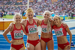 August 12, 2018 - Berlin, Germany - Mette Graversgaard of  Denmark, Ida Kathrine Karstoft of  Denmark, Mathilde Kramer of  Denmark and Louise ØstergÃ¥rd of  Denmark  during 4 times 100 meter final for women , setting a new record of 44.09 seconds at the Olympic Stadium in Berlin at the European Athletics Championship on August 12, 2018. (Credit Image: © Ulrik Pedersen/NurPhoto via ZUMA Press)