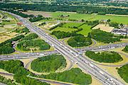 Nederland, Gelderland, Hoevelaken, 09-06-2016, knooppunt Hoevelaken, kruising Rijksweg A28 en de A1. Bij het verkeersknooppunt is een file aan het ontstaan.<br /> The beginning of traffic jam at junction Hoevelaken.<br /> aerial photo (additional fee required);<br /> copyright foto/photo Siebe Swart