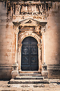 Croatian doorway with carved stone surround, Dubrovnik Croatia