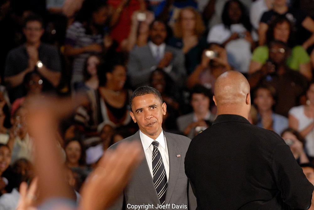 Powder Springs, GA - July 8, 2008:  US Senator and Democratic Presidential candidate Barack Obama at McEachern High School in Powder Springs, Georgia.