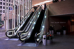 Stock photo of the interior lobby and escalators of One Allen Center in Houston, Texas