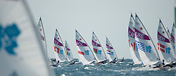2012 Olympic Games London / Weymouth<br /> Racing day 1 Laser<br /> Laser radial fleet after the start