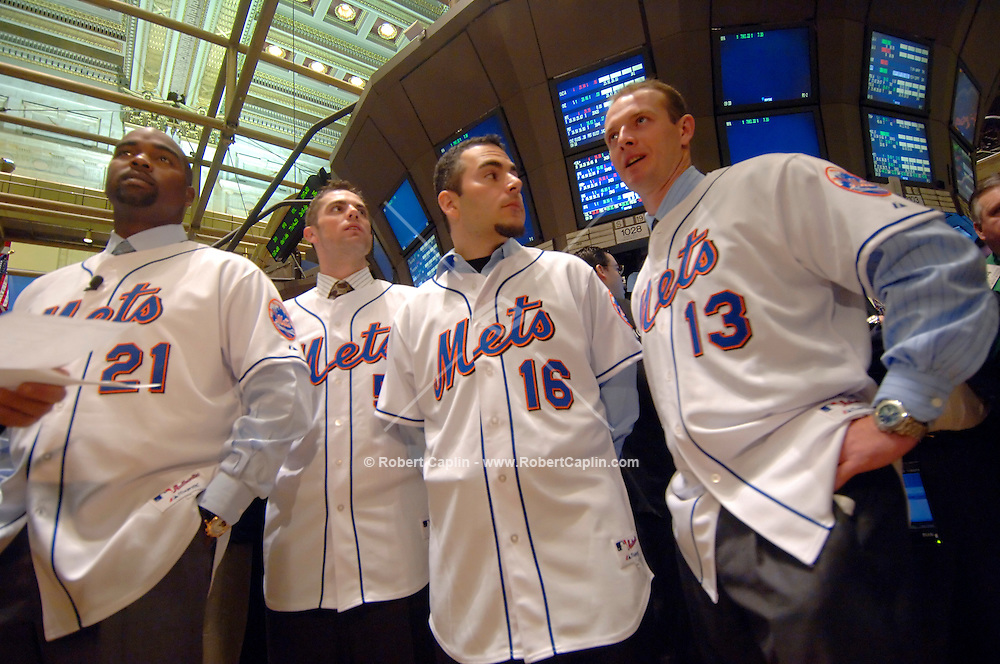 New York Mets baseball players (L-R), Carlos Delgado, Jay Wright, Paul LoDuca, and Billy Wagner on the floor of the New York Stock Exchange January 24, 2006. (Robert Caplin For The New York Times)...