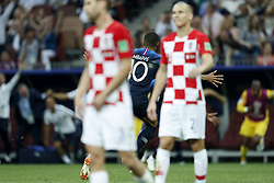(L-R) Ivan Strinic of Croatia, Kylian Mbappe of France, Domagoj Vida of Croatia during the 2018 FIFA World Cup Russia Final match between France and Croatia at the Luzhniki Stadium on July 15, 2018 in Moscow, Russia