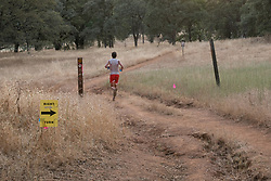Ryan Sandes heading for the last stretch, 24 minutes ahead of 2nd in the Western States 100.