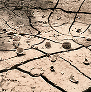 One of the tributaries of the Ganges near Haridwar completely dry during the hot season, India 2009.
