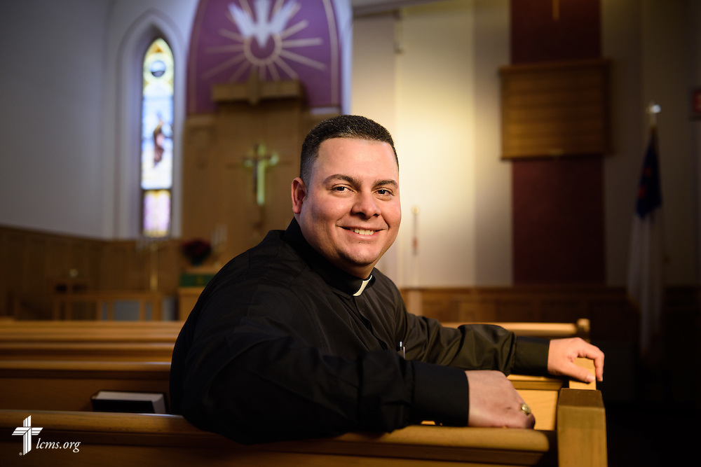 Portrait of Vicar David Blas, missionary-at-large at LCMS Sheboygan County Hispanic Outreach and St. John's Lutheran Church of Plymouth, Wis., on Friday, Jan. 29, 2016, at Immanuel Lutheran Church in Sheboygan, Wis. LCMS Communications/Erik M. Lunsford