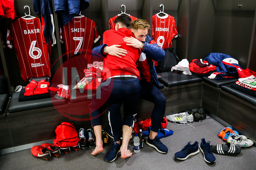 Callum O'Dowda of Bristol City hugs Josh Brownhill during the Mascot dressing room visit - Rogan/JMP - 27/01/2018 - Ashton Gate Stadium - Bristol, England - Bristol City v Queens Park Rangers - Sky Bet Championship.