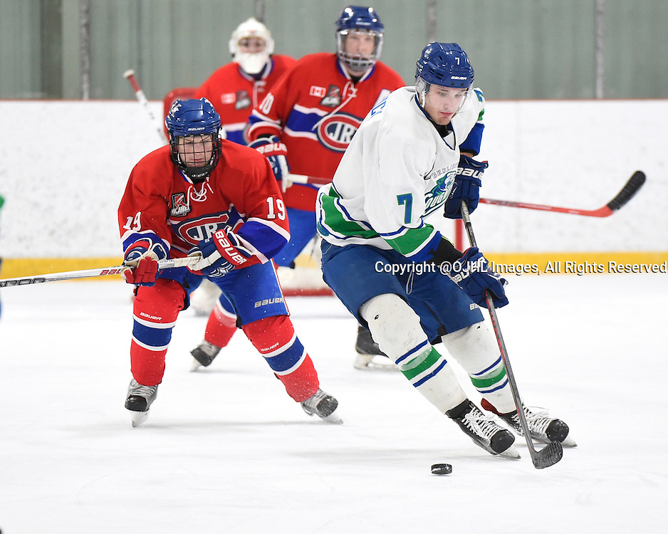 BURLINGTON, - Mar 2, 2016 -  Ontario Junior Hockey League game action between Burlington Cougars and the Toronto Junior Canadians. Game 1 of the first round playoff series at the Appleby Ice Centre, ON. Jordan Peacock #7 of the Burlington Cougars keeps the puck from Adam Deluca #19 of the Toronto Jr. Canadiens during the second period.<br /> (Photo by Andy Corneau / OJHL Images)