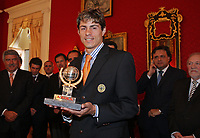 20090528: FUNCHAL, PORTUGAL Ð Nacional Madeira striker Nene receives the Golden Ball, after scoring 20 goals on the Portuguese League 2008/2009. Nene is being followed by SL Benfica, FC Porto, Arsenal, Lyon, AS Roma and Hamburg, among other teams. In picture: Nene . <br />