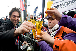 Coach of  Slovenian 2-times silver medalist alpine skier T. Maze Andrea Massi celebrating with fans at arrival to Airport Joze Pucnik from Vancouver after Winter Olympic games 2010, on February 28, 2010 in Brnik, Slovenia. (Photo by Vid Ponikvar / Sportida)