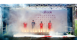 LIVERPOOL, ENGLAND - Friday, April 10, 2015: Liverpool's Martin Skrtel, goalkeeper Simon Mignolet, Raheem Sterling and Daniel Sturridge during the launch for the New Balance 2015/16 home kit at Anfield. (Pic by David Rawcliffe/Propaganda)