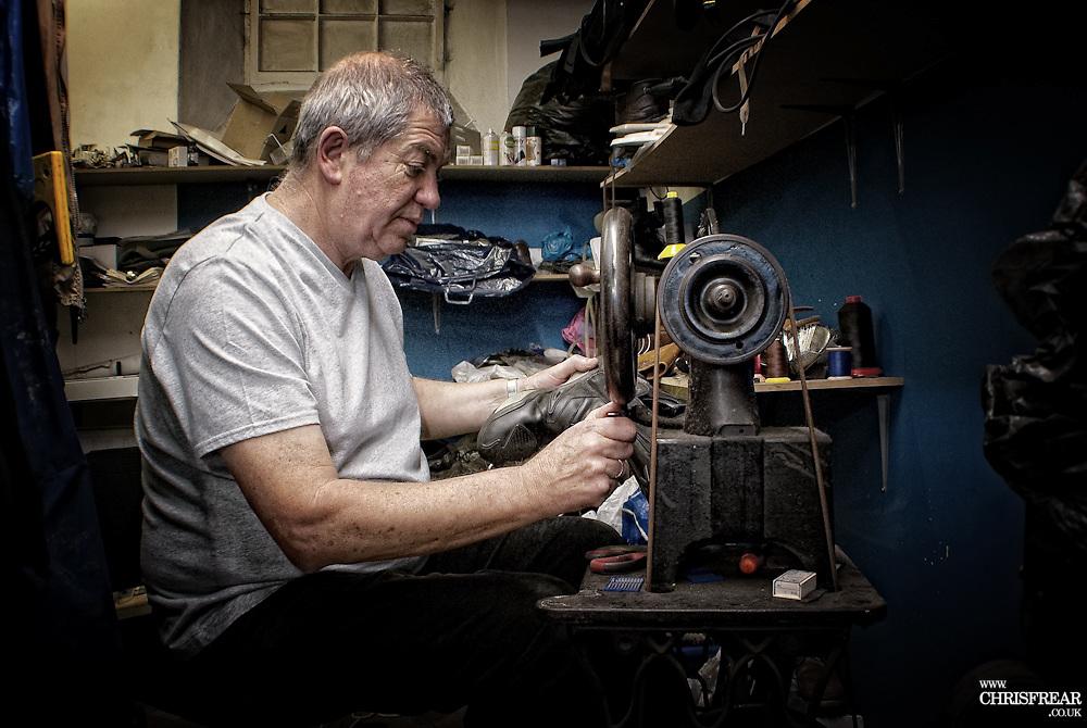 Mr Snowden, Dumfries Cobbler, in his work shop