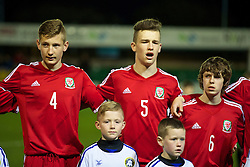 RHYL, WALES - Tuesday, March 18, 2014: Wales' Jack Coates, Liam Angel and Cai Williams before the Under-15's International Friendly match against Poland at Belle Vue. (Pic by David Rawcliffe/Propaganda)