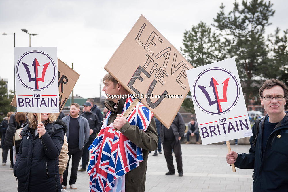 Birmingham, West Midlands, UK. 24th March 2018. Thousands of demonstrators converge on Birmingham city centre organised by three individual groups: Football Lads Alliance (FLA), Democratic Football Lads Alliance (DFLA) and Stand Up To Racism.  Pictured: For Britain supporters gather at Curzon Road. // Lee Thomas, Tel. 07784142973. Email: leepthomas@gmail.com  www.leept.co.uk (0000635435)