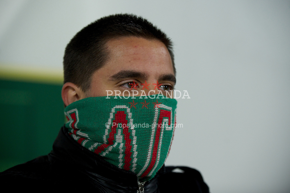 SOFIA, BULGARIA - Tuesday, October 11, 2011: A Bulgaria supporter during the UEFA Euro 2012 Qualifying Group G match against Wales at the Vasil Levski National Stadium. (Pic by David Rawcliffe/Propaganda)