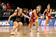 Magic wing attack Ariana Cable-Dixon abd Tactix wing defense Charlotte Elley in action during the ANZ Premiership netball match - Magic v Tactix played at Claudelands Arena, Hamilton, New Zealand on 30 July 2018.<br /> <br /> Copyright photo: &copy; Bruce Lim / www.photosport.nz