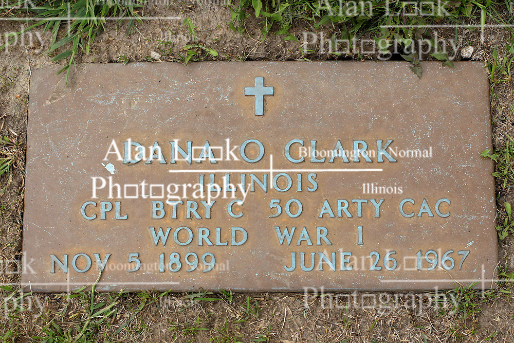 31 August 2017:   Veterans graves in Park Hill Cemetery in eastern McLean County.<br /> <br /> Dana O Clark  Illinois Corporal BTRY C Artillery CAC World War I Nove 5 1899  June 26 1967