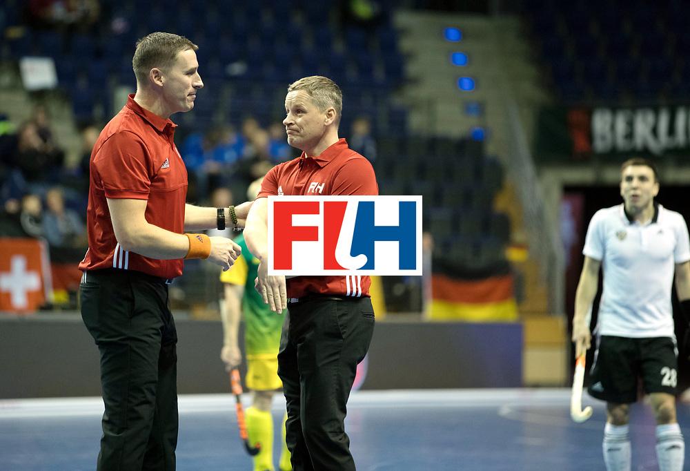 BERLIN - Indoor Hockey World Cup<br /> Men: Russia - South Africa<br /> foto: de LIEFDE Bart (NED) (l)  and UmpireLINKOWSKI Pawel (POL)<br /> COPYRIGHT WILLEM VERNES