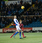 13th February 2018, Rugby Park, Kilmarnock, Scotland; Scottish Premiership football, Kilmarnock versus Dundee; Simon Murray of Dundee curls a shot just over the bar