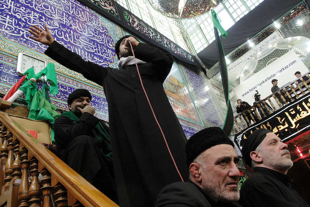 A speaker leads celebrations in the mosque Karbelai (of kerbala) in Teheran south in the day of Ashura..