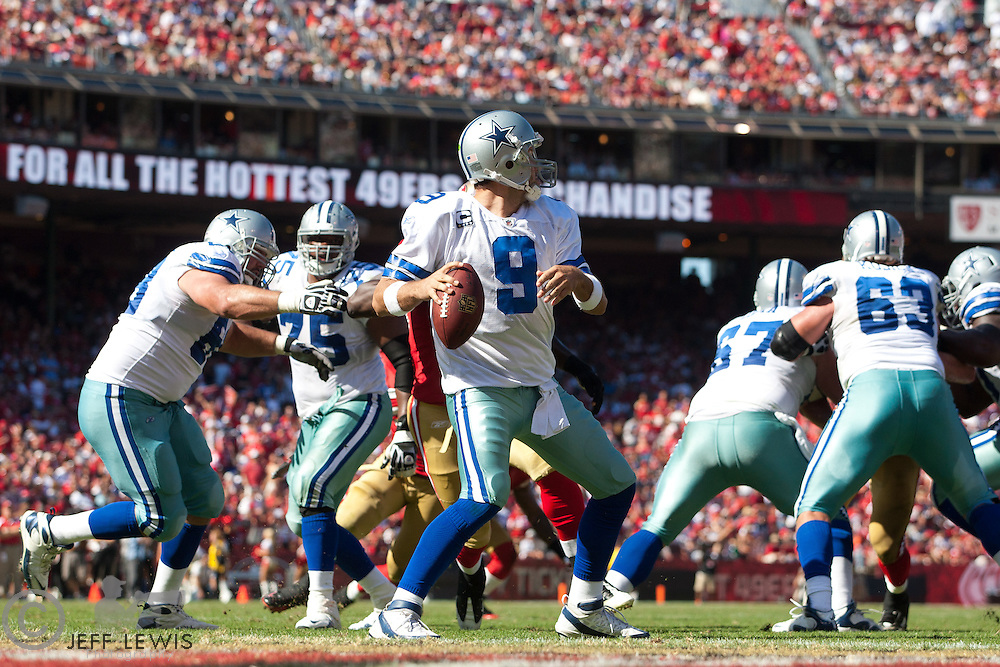 18 September 2011: Quarterback (9) Tony Romo of the Dallas Cowboys passes the ball against the San Francisco 49ers during the second half of the Cowboys 27-24 overtime victory against the 49ers in an NFL football game at Candlestick Park in San Francisco, CA.