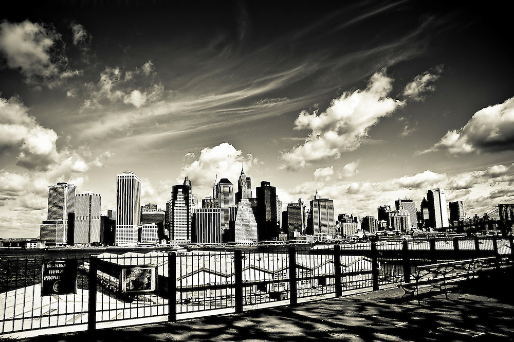 Wall Street skyline seen from the Brooklyn Heights Promenade on a windy morning, Brooklyn, New York, 2008.