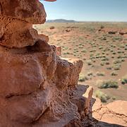 Closeup of rocks in a window of Wukoki Pueblo - Wupatki National Monument, AZ