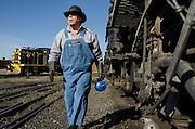Engineer Jeff Stebbins preps the train at the Antonito Depot.