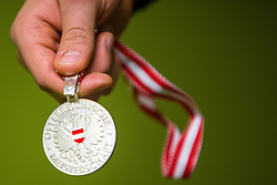 Silver medal during 5th game of final INL league ice hockey match between HK Playboy Slavija and EHC Bregenzerwald at Dvorana Zalog, on April 3, 2013, in Ljubljana, Slovenia. (Photo by Matic Klansek Velej / Sportida)