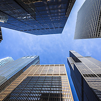 Chicago buildings upward view with Willis Tower (Sears Tower) with a blue sky