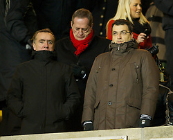 WOLVERHAMPTON, ENGLAND - Tuesday, January 31, 2012: Liverpool's Commercial Director Ian Ayre and Director of Football Strategy Damien Comolli during the Premiership match against Liverpool at Molineux. (Pic by David Rawcliffe/Propaganda)