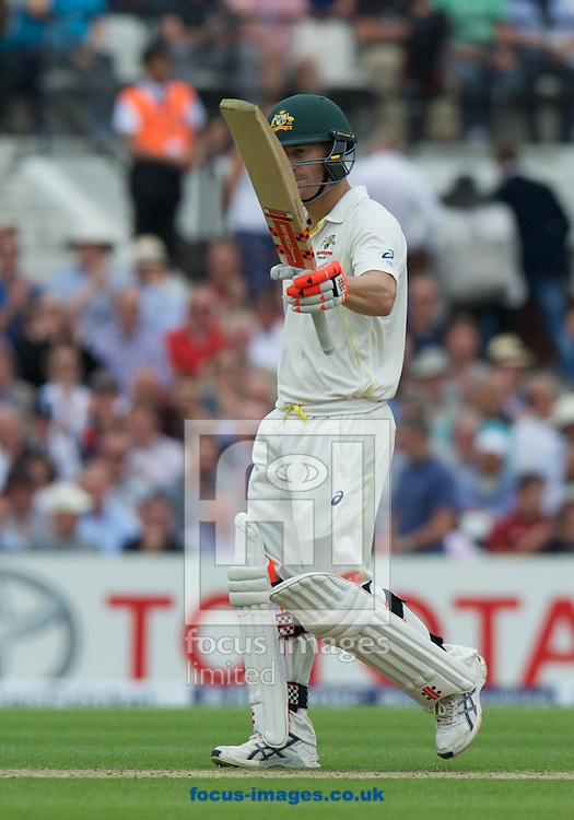 David Warner of Australia acknowledges his 50 during the 5th Investec Ashes Test Match match at the Kia Oval, London<br /> Picture by Alan Stanford/Focus Images Ltd +44 7915 056117<br /> 20/08/2015