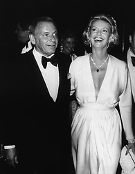 July 25, 2017 - FILE - BARBARA MARX SINATRA (October 16, 1927 - July 25, 2017) was an American former model showgirl, philanthropist and widow of FRANK SINATRA, died Tuesday at her home Rancho Mirage, California. She was 90. 'She died comfortably surrounded by family and friends at her home,' said Director of the Barbara Sinatra Children's Center Foundation, said in a statement. The philanthropist was the music icon's fourth wife. They were married in 1976 until Frank Sinatra's death in 1998. Pictured: Apr 27, 1977; New York, NY, USA; Singer FRANK SINATRA with wife BARBARA at the Robert Merrill at the Waldorf Historia..  (Credit Image: © Keystone Press Agency/Keystone USA via ZUMAPRESS.com)