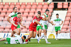 11th November 2018 , Racecourse Ground,  Wrexham, Wales ;  Rugby League World Cup Qualifier,Wales v Ireland ; Gavin Bennion of Wales celebrates scoring a try <br /> <br /> <br /> Credit:   Craig Thomas/Replay Images