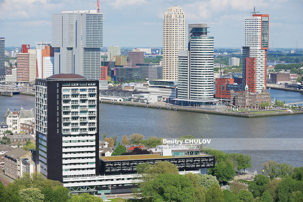 ROTTERDAM, NETHERLANDS - JUNE 02, 2013: Aerial view to the modern buildings in Rotterdam, Netherlands.