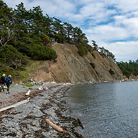 A naturalist leads a walk during a landing at Sucia Island Marine State Park in the San Juan Islands of Washington State.