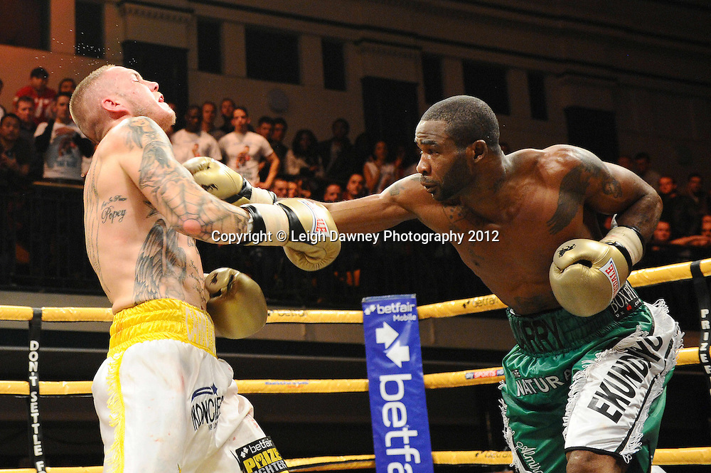 Larry Ekundayo defeats Terry Carruthers in final to claim the Prizefighter Light Middleweights Title at York Hall, Bethnal Green, London on the 1st November 2012. Frank Warren Promotions. © Leigh Dawney Photography 2012.Larry Ekundayo defeats Terry Carruthers in final to claim the Prizefighter Light Middleweights Title at York Hall, Bethnal Green, London on the 1st November 2012. Frank Warren Promotions. © Leigh Dawney Photography 2012.