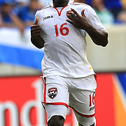 Kevon Carter , Trinidad and Tobago, in action during the El Salvador Vs Trinidad and Tobago CONCACAF Gold Cup group B football match at Red Bull Arena, Harrison, New Jersey. USA. 8th July 2013. Photo Tim Clayton