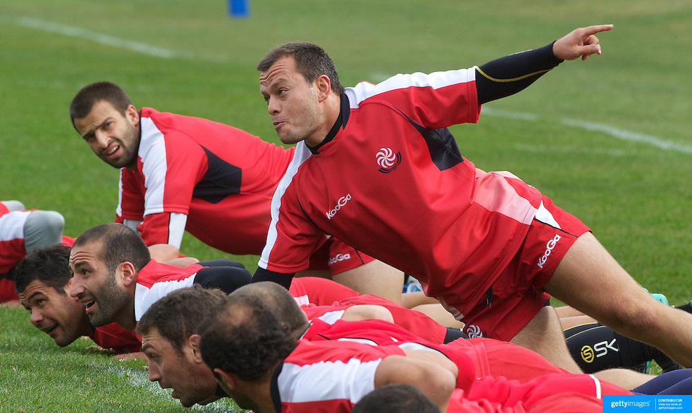 Irakli Abuseridze the Georgian captain leads by example at the Georgian team training at Recreation Park, Queenstown, in preparation for the IRB Rugby World Cup.  Queenstown, New Zealand, 9th September 2011. Photo Tim Clayton...