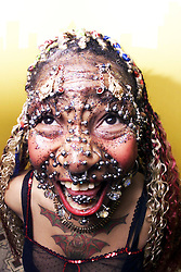 Elaine Davidson, most pierced woman in the world, shows of her tongue which has over 25 studs in these pictures taken in May, 2000.