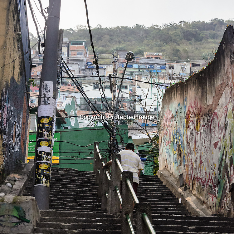 Entrance to the Cantagalo favela in the heart of Rio de Janeiro. This used to be a prime drug dealing spot until the favela was pacified in 2009