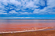 Red sandstone beach at low tide. Northumberland Strait. <br />Skinners Pond <br />Prince Edward Island<br />Canada