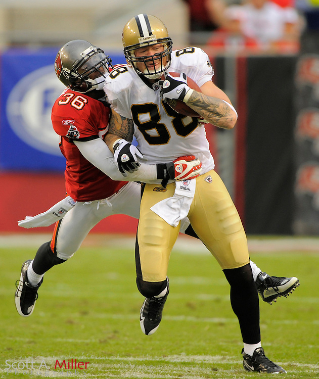 Nov. 22, 2009; Tampa, FL, USA; Tampa Bay Buccaneers safety Tanard Jackson (36) tackles New Orleans Saints tight end Jeremy Shockey (88) during the Bucs game against the New Orleans Saints at Raymond James Stadium. ©2009 Scott A. Miller.© 2009 Scott A. Miller