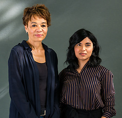 Pictured: Edinburgh International Book Festival, Edinburgh, Scotland, United Kingdom, 24 August 2019. Pictured L to R: Tess McWatt  & Zeba Talkhani. Tessa McWatt, a Guyanese-born Canadian writer and currently Professor of Creative Writing at the University of East Anglia, talks about her book 'Shame on Me' at the book festival today. Zeba Talkhani, originally from Saudi Arabia, talks about her book 'My Past is a Foreign Country' at the book festival today.<br /> Sally Anderson | EdinburghElitemedia.co.uk
