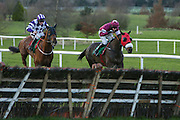 Ladbrokes Ireland Boyne Hurdle at Navan Race Course, 14th February 2016<br /> Gordon Elliott trained Nickname Exit with Bryan Cooper in the saddle and Edward Cawley trained Flemenstorm with Philip Enright in the saddle take the last at Navan. Nickname Exit goes on to win the David Civil Engineering Handicap Hurdle at Navan<br /> Photo: David Mullen / www.quirke.ie ©John Quirke Photography, Unit 17, Blackcastle Shopping Cte. Navan. Co. Meath. 046-9079044 / 087-2579454.